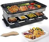 Raclette Grill con 8 Mini Sartenes Revestimiento Antiadherente Regulador de Temperatura para 8 Personas 1500W Negro